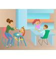 nanny and kids eat vector image