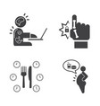 effect of office syndrome icons set vector image
