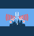5g cellular data tower wave bad impact in city vector image