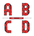 alphabet typography font red machinery style in a vector image vector image