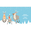 banner for christmas and new year with reindeer vector image vector image