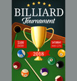 billiard tournament gold trophy cup vector image vector image