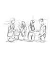 businessmen and women succesful team shaking hands vector image