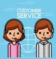 cartoon man and woman employees customer service vector image vector image