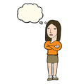 cartoon woman with folded arms with thought bubble vector image vector image