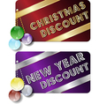christmas new year discount cards vector image vector image