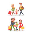 christmas shopping happy family buying day vector image vector image