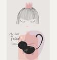 cute doodle little princess with black cat vector image