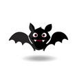 cute flying bat flittermouse with red eyes and vector image vector image