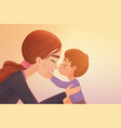 cute little boy kisses his happy mother cartoon vector image vector image