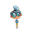 cute scientist boy character working on physics vector image