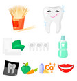 dental care set icons in cartoon style big vector image vector image