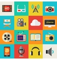 Detailed multimedia icon set vector image vector image