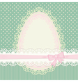 Easter vintage card with egg on green background vector image vector image