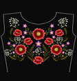 fashion embroidered floral ornament vector image vector image