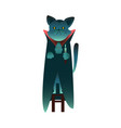 flat halloween witch black cat with cape vector image vector image