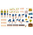 flat man tourist travel bag creation set vector image