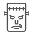 frankenstein line icon monster and halloween vector image vector image