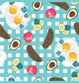 fried eggs rye bread and vegetables background vector image vector image