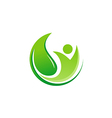 green leaf vegan eco logo vector image