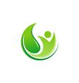 green leaf vegan eco logo vector image vector image