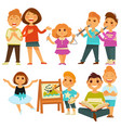 happy children kindergarten playing activity vector image