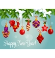 Holiday bauble balls on pine branch vector image vector image