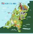 holland cultural travel map poster vector image vector image