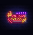 hot dog logo in neon style design template hot vector image vector image
