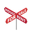 house for rent road signboard arrows for sale vector image