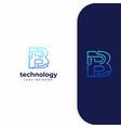 letter b technology line dot connection logo vector image vector image