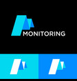 monitoring logo letter m like chart blue paper vector image vector image