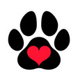 paw print love vector image vector image