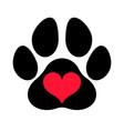paw print love vector image