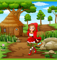 red hooded girl are in the village at forest vector image vector image
