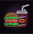 retro neon burger and cola sign on brick wall vector image