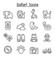 safari animal wildlife animal icon set in thin vector image