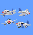 set bundle cartoon airplane vector image vector image