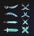 set of cartoon medieval swords vector image vector image