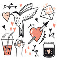 set of love line vector image
