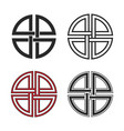 set shield knot symbols flat and line style vector image vector image