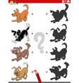shadow task with cartoon playful dog characters vector image vector image