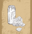 soft drink and chips sketches vector image vector image