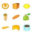 tea with bun icons set cartoon style vector image vector image