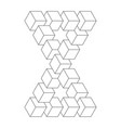 two connected impossible triangles 3d cubes vector image vector image