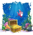 Underwater world with fish and gold chest vector image vector image
