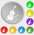 Violin icon sign Symbol on eight flat buttons vector image