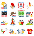 world football cup 2018 with football symbols vector image vector image