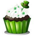 A mouth-watering chocolate cupcake vector image vector image