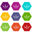 abundant wheat icons set 9 vector image vector image